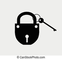 Lock with Key Vector Shape Illustration