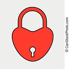 Heart Shape Lock Vector Illustration