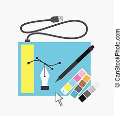 Graphic Tablet and Equipments Vector Illustration