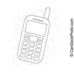 Old-Fashioned Mobile Drawing Vector Illustration