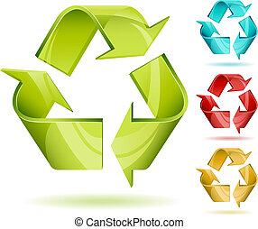 Recycle sign - 3D glossy recycle vector icon isolated on...