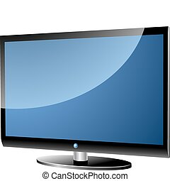 Wide screen TV - Wide screen modern TV set isolated on white...