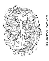 Koi carp coloring book for adults vector - Koi carp fish...