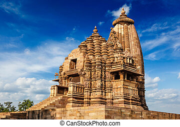 Famous temples of Khajuraho with sculptures, India - Vaman...