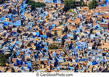 Jodhpur the Blue city, Rajasthan, India - Aerial view of...