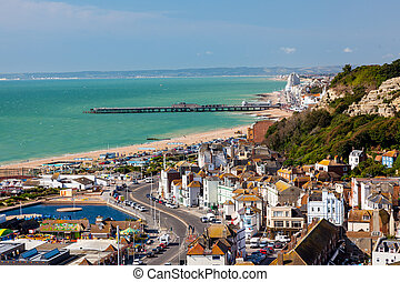 Hastings East Susses England - Overlooking the town of...