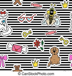 Cute fashion seamless pattern with patch badges. Mouth, lips, smile, lipstick, language. Striped background.