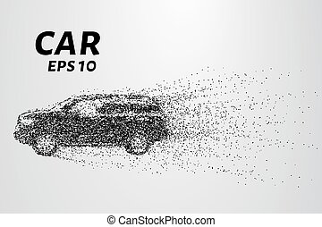 Car from the particles. The car breaks down into molecules....