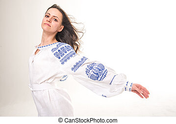 The girl in national costume. Ukrainian embroidery