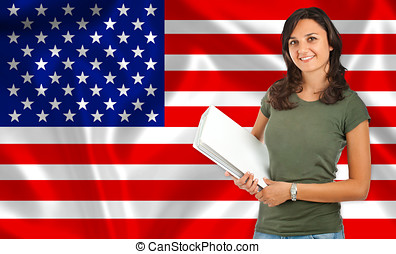 Student smiling over United States flag. Concept of lessons...