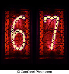 Nixie tube indicator retro style. Digit 6, 7 - The Nixie...