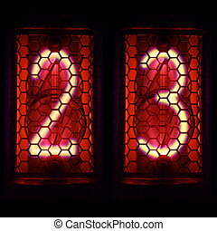 Nixie tube indicator retro style. Digit 2, 3 - The Nixie...