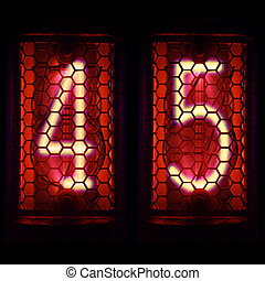Nixie tube indicator retro style. Digit 4. 5 - The Nixie...