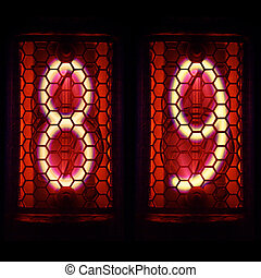 Nixie tube indicator retro style. Digit 8, 9 - The Nixie...