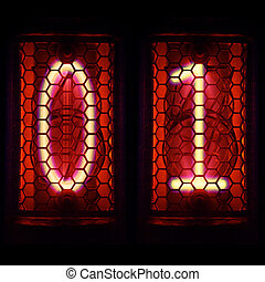 Nixie tube indicator retro style. Digit 0, 1 - The Nixie...