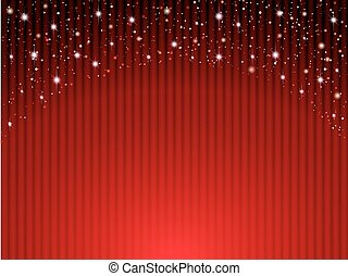 Red curtains on theater with stars - Vector illustration....
