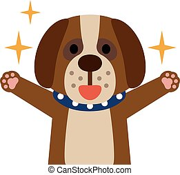Dogs rejoice with her eyes shining - Vector illustration....