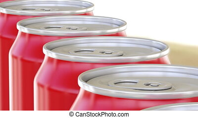 Generic red aluminum cans moving on conveyor. Soft drinks or...