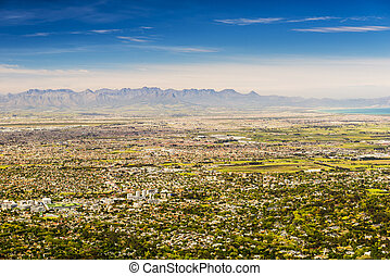 Panorama of Cape Town Towards Stellenbosch - Panoramic view...