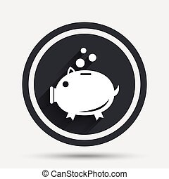 Piggy bank sign icon. Moneybox symbol. Circle flat button...