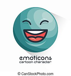 blue emoticon laughing closed eyes icon vector illustration...