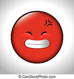 red emoticon smile closed eyes vector illustration eps 10