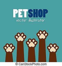 symbol pet shop paw print brown icon