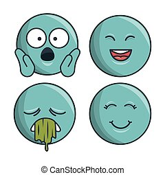 collection set emoticons differents expression vector...