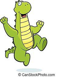 Dragon Jumping - A happy cartoon dragon jumping and smiling