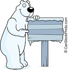 Polar Bear Sign - A happy cartoon polar bear with a wooden...