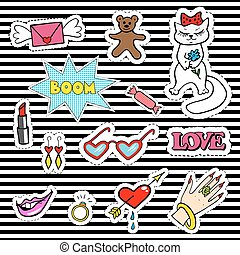 Cute fashion patch badges with lips, heart, cat, ring,...