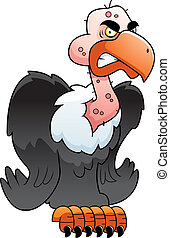 Vulture Perched - A cartoon vulture perched with an angry...