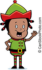 Elf Waving - A happy cartoon Christmas elf waving and...
