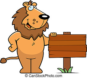 Lion Sign - A happy cartoon lion standing next to a wood...