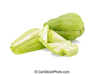 Chayote on white background.