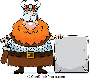 Viking Sign - A happy cartoon viking with a stone sign.
