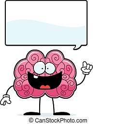 Brain Idea - A happy cartoon brain with an idea.