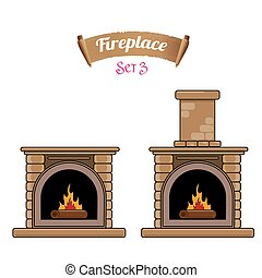 fireplace icon set isolated on white. Burning brown brick...