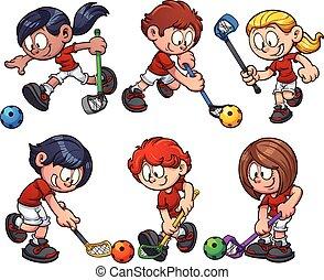 Floorball kids - Cartoon kids paying floorball. Vector clip...
