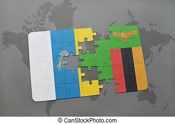 puzzle with the national flag of canary islands and zambia...