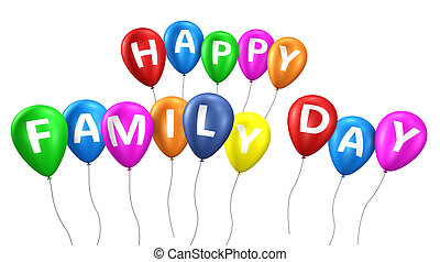 Happy Family Day Balloons - Happy family day sign and...