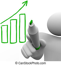 Drawing Growth Bar Chart on Board - A person draws a growth...