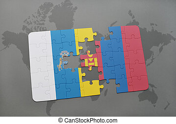 puzzle with the national flag of canary islands and mongolia...