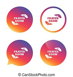Prayer room sign icon. Religion priest symbol. - Prayer room...