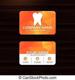 Tooth sign icon. Dental care symbol. - Business or visiting...