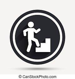 Upstairs icon. Human walking on ladder sign. Circle flat...