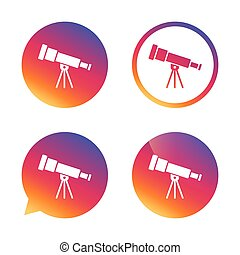Telescope icon. Spyglass tool symbol. Gradient buttons with...