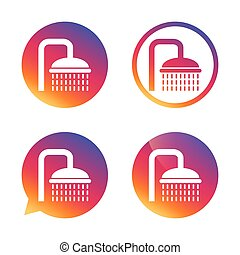 Shower sign icon. Douche with water drops symbol. Gradient...