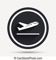 Plane takeoff icon Airplane transport symbol Circle flat...