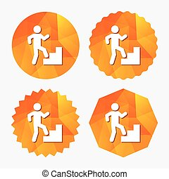 Upstairs icon. Human walking on ladder sign. Triangular low...